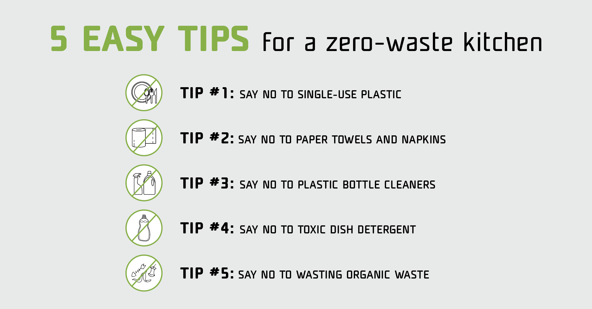 5 easy tips for a zero-waste kitchen - infographics