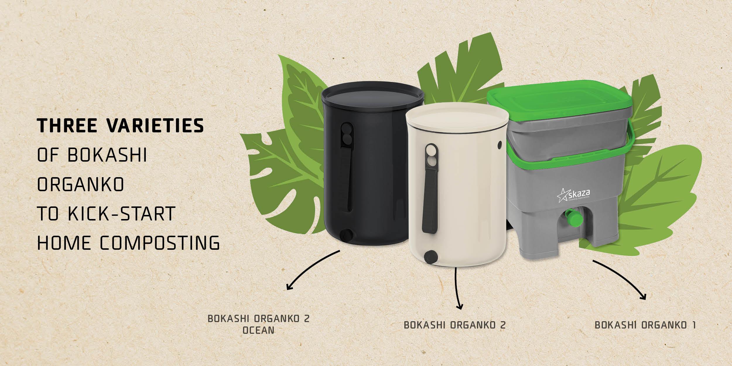 Three varieties of Bokashi Organko to kick-start home composting - infographics